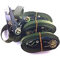 4x Ratschenspanngurt Spanngurt mit Ratsche 6 Meter EN Norm Farbe: Bundeswehr oliv , iapyx®