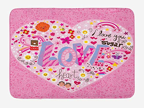 ZKHTO Doodle Bath Mat, I Love You Sugar Giant Heart with Big Letters Love Valentine's Smiles Flowers, Plush Bathroom Decor Mat with Non Slip Backing, 23.6 W X 15.7 W Inches, Pink Multicolor