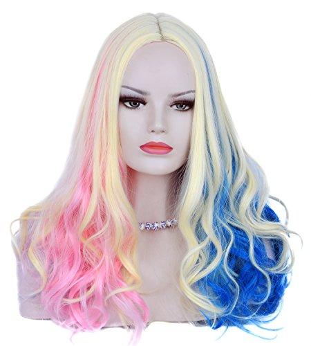 Pink Blau und blond gemischt 3Tones lang lockig bunt Cosplay Perücke für Frauen (Lange Neon Perücke Pink)