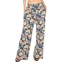 Urban GoCo Mujer Pantalón Palazzo de Pierna Ancha Casual Estampado Floral Baggy Pantalones (Large, 1)