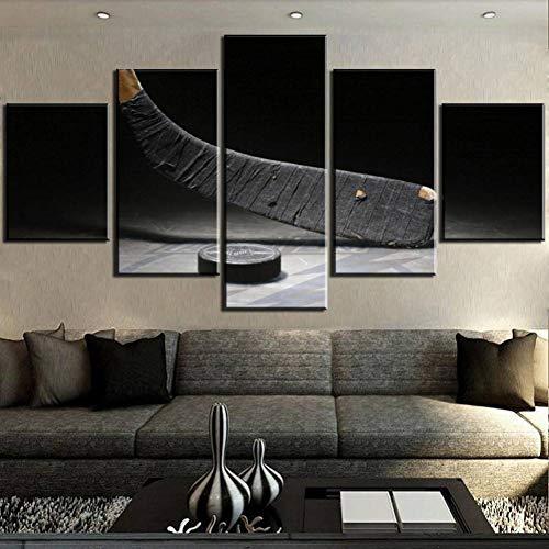 IBIZHI Wandgemälde 5 Stück Leinwand Kunst Eishockey Ausrüstung Gemälde Auf Leinwand Wandkunst Für Hauptdekorationen Wanddekor (In Voller Eishockey-ausrüstung)