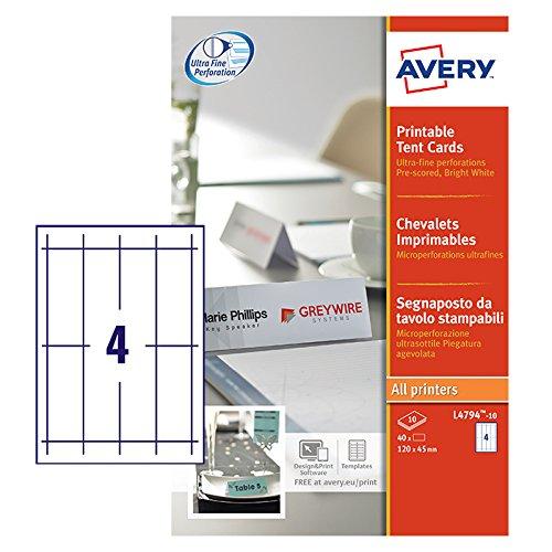 Avery Zweckform L4794-10 Tischkarten (40 Stück, 120 x 45 mm, 190 g/m²) 10 Blatt weiß (Tischkarten Avery)