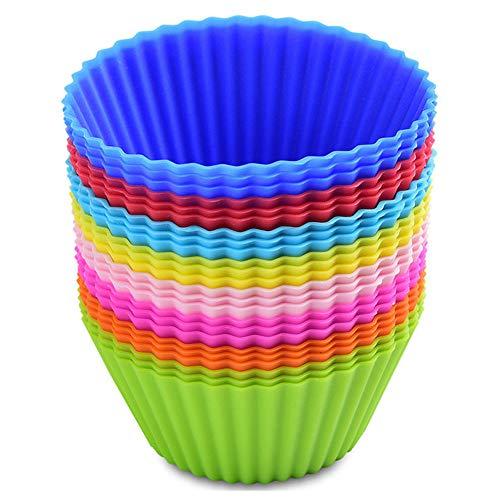 MUXItrade Backförmchen aus Silikon,24 Stück Wiederverwendbare Silikon Muffin Form(8 Hellen Farben) (Silikon-backförmchen 24)