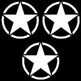 3 Stück US Sterne 7cm matt weiß USA Army MP Auto Jeep Tuning Aufkleber Tattoo die cut Deko Folie