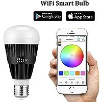 Flusso WiFi Smart lampadina LED–Smartphone Controllato Dimmerabili Multicolore luci che cambiano colore–Funziona con iPhone, iPad, Apple Watch, Telefono Android e tablet, Black, E27, 10.00 wattsW 110.00 voltsV