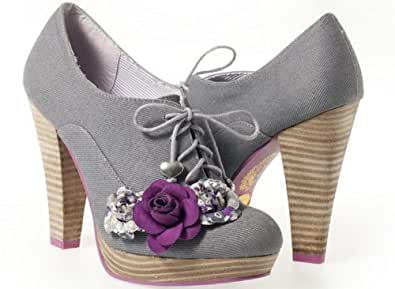 RUBY SHOO LANA WOMEN'S GREY FABRIC SHOE FLORAL HIGH HEEL PLATFORMS NEW (6)