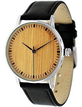 Handgefertigte flache Holzwerk Germany® Designer Unisex Herren-Uhr Damen-Uhr Öko Natur Holz-Uhr Armband-Uhr Analog...