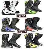 bottes de moto scooter XTRM 705 course tourisme armure de sport urbain bottes toutes couleurs (EU 42 (UK 8), bleu)
