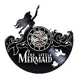 BiuTeFang Wanduhr Schallplatten Vinyl Die Kleine Meerjungfrau Ariel Schwarz Leim Rekord Wand Uhr Vinyl Disney Art Deco Alle Geschenke