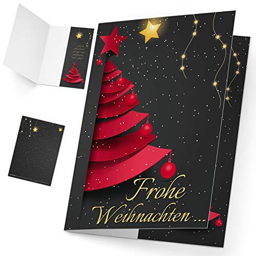 Weihnachtskarten Set (12 Stück) WEIHNACHTSBAUM - edle Premium Klappkarten - ideal privat & geschäftlich - Frohe Weihnachten Karten von BREITENWERK