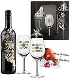 Luxusgeschenk Rotwein| Wein-präsentbox Italien Toscana Weihnachten | mit 2 Original Rotweingläsern mit Echt-Gold | Weihnachtsgeschenk für Weinkenner im Christmas-Look | Weihnachten Rotweingeschenk