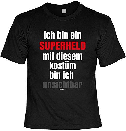 Karneval Faschings T-Shirt Superheld mit diesem Kostüm bin ich unsichtbar Faschingsleiberl witziges Fun Shirt Karnevalzeit Faschingszeit (Herren Superheld Kostüm T Shirts)