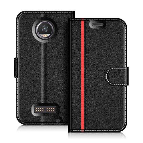 COODIO Motorola Moto Z2 Play Hülle Leder Lederhülle Ledertasche Wallet Handyhülle Tasche Schutzhülle mit Magnetverschluss/Kartenfächer für Motorola Moto Z2 Play, Schwarz/Rot
