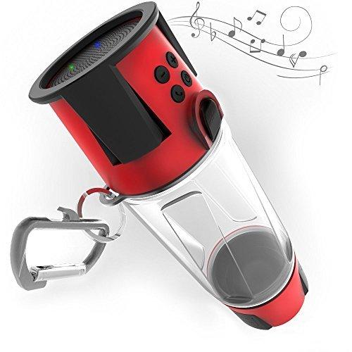 Preisvergleich Produktbild Hydra Smartbottle - Wasserflasche (Bpa Frei), Bluetooth-Lautsprecher Mit Freisprechfunktion, 4000Mah Power Bank-Ladegerät, Mehrfarbiges Led-Licht - Kostenlose App Für Android Und Iphone Red