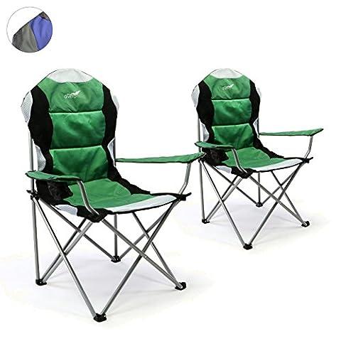 Divero 2er Set Deluxe Campingstuhl grün schwarz Faltstuhl Angelstuhl gepolstert bis 130 kg