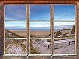 Bank in den Dünen mit Blick auf das Meer Fenster im 3D-Look, Wand- oder Türaufkleber Format: 92x62cm, Wandsticker, Wandtattoo, Wanddekoration