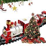 Volwco - Trenino di Natale Classico con luci e Suoni, Set di Trenino Elettrico Deluxe con Motore a Batteria e Piste da 2,5 m per Bambini