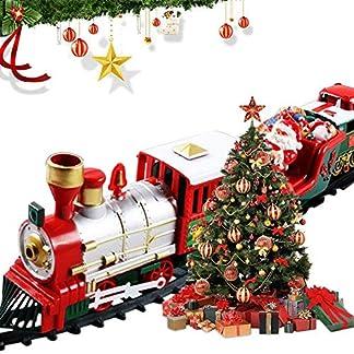 Juguete De Tren De Navidad para NiñO Y NiñA,Tren Conjunto Modelo Juguete,Juego de Tren de Navidad Alrededor del árbol de Navidad decoración del hogar Festivo luz Sonido de luz(120 Pulgadas)