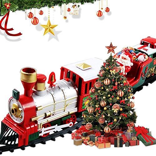 Coffret De Train,Train éLectrique De NoëL avec LumièRes Et Son,Le Train De Chemin De Fer De 120 Pouces Est Utilisé pour Entourer l'arbre De NoëL,des Cadeau De Noel pour Les GarçOns Et Les Filles