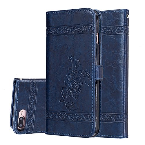 Price comparison product image iPhone 7 Plus Case,BONROY® iPhone 7 Plus Retro elegant rose embossed PU Leather Phone Holster Case, Flip Folio Book Case, Wallet Cover with Stand Function, Card Slots Money Pouch Protective Leather Wallet Case for iPhone 7 Plus