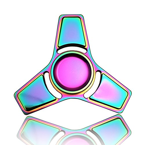 3-5 Mins Hand Fidget Spinner Stress Relief Toy, Colourful Aluminum Alloy Hand Spinner Rinbow Electroplating Metal EDC Fidget Toy Stress Reducer Made Bearing Focus Anxiety Relief Toys for Killing Time