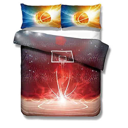 Cnspin Basketball Bedruckter Bettbezug Schlafzimmer Weiche Mikrofaser Bettwäsche gesetzt Mit 2 Kissenbezügen Teen Geschenke 3 stück,L,3PCS 200CMX200CM -
