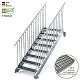 Außentreppe 8 Stufen 90 cm Laufbreite - beidseitiges Geländer - Anstellhöhe variabel von 150 cm bis 180 cm- Gitterroststufe ST1 - feuerverzinkte Stahltreppe mit 900 mm Stufenlänge als montagefertiger Bausatz