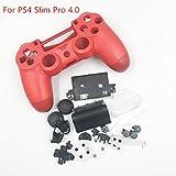 Neue Gehäuse Schale Cover Case Schutzhülle Hard Haut mit Tasten Set für Sony PS4Slim Pro Controller 4.0jds-040jdm-040Version-Red.