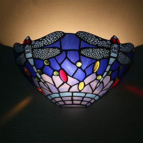 Tiffany Lampe Dragonfly Set Tischleuchte Wandleuchten Deckenleuchte Pendelleuchte TLS-009 Blau,10InchWallLightsB