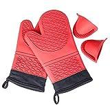 KEDSUM Hitzebeständige Silikon Ofen Handschuh mit einem Paar rutschfeste Griffmulde Einschließen Freie Geschenk Topfla