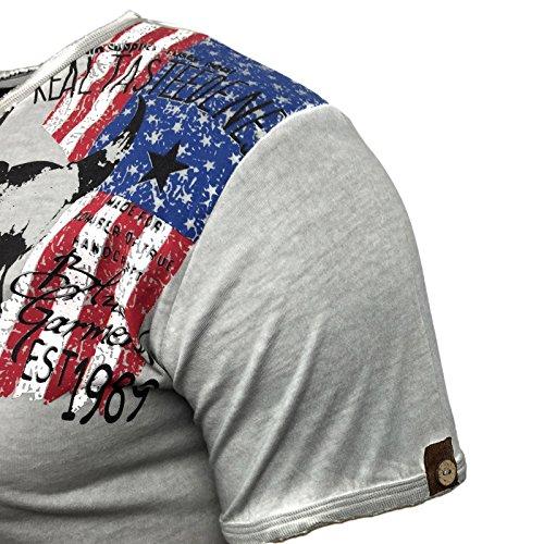 Herren T-Shirt Blau Grau Anthrazit bedruckt mit Motiv und Knöpfe A1-RN15024 Grau