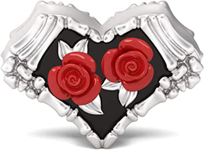 GNOCE Gothic Red Rose Skelett Perle Charm 925 Sterling