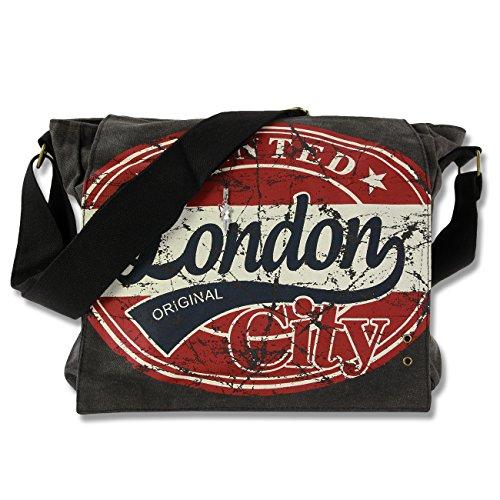 Umhänge- Crossbody Schultertasche London Wanted Motiv- Farbauswahl D4OTG200X rot-blau (London Wanted)