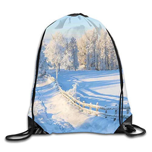 EELKKO Drawstring Backpack Gym Bags Storage Backpack, Winter Snow Valley with Oak Borders Pines Frozen Pastoral High Cold Lands,Deluxe Bundle Backpack Outdoor Sports Portable Daypack Oak Leaf Border