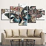 Paintings JFW-HD Gedruckt Moderne Leinwand Malerei Wohnkultur 5 Panel Schöne Schmetterling Wandkunst Modulare Poster Rahmen Bilder Wohnzimmer,A,30x40x2+30x60x2+30x80x1