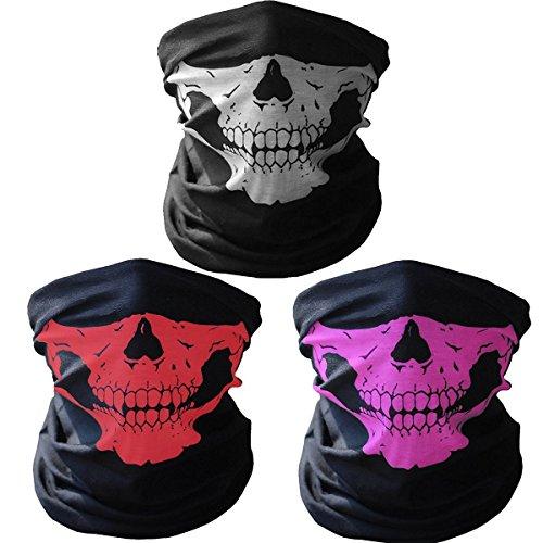 GAMPRO 3 Stück Atmungs Nahtlose Rohr Schädel Gesichtsmaske, staubdicht Winddicht Motorrad Fahrrad Gesichtsmaske für Radfahren, Wandern, Camping, Klettern, Angeln, Jagd, Motorradfahren (1 SATZ)