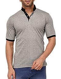 9ZEUS Half Sleeve Slim Fit 100% Cotton Grey With Collar T-Shirt For Men