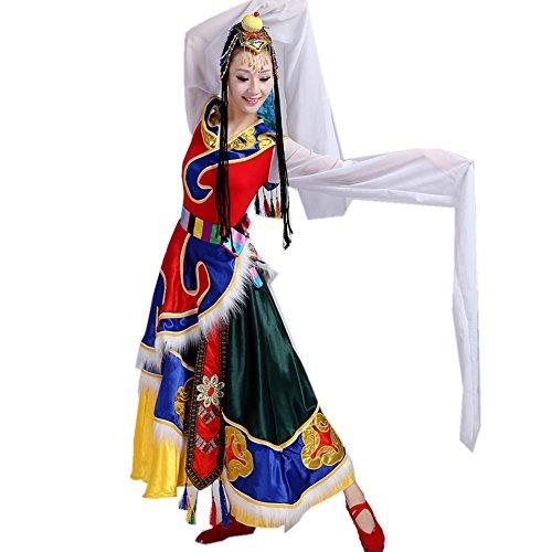 Wgwioo tibetische mongolische ethnische frauen kostüme klassische tanz erwachsene weibliche kleider lange ärmel praxis wettkampf outfit bühne aufführungen gruppe team , picture color , (Weibliche Kostüme Armee)