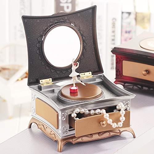 Honey MoMo Musik-Box, klassisch, drehbar, für Mädchen, Schmuck-Aufbewahrungsbox mit Make-up-Spiegel