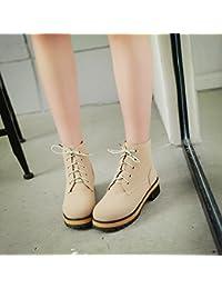 &ZHOU Botas otoño y del invierno botas cortas mujeres adultas 'Martin botas botas Knight A4-5 , beige , 43