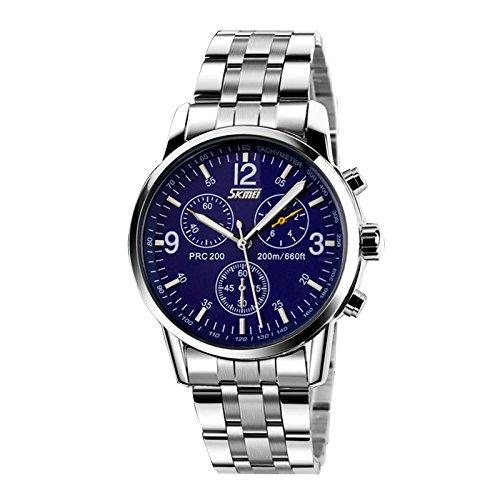 Acero inoxidable Banda Reloj - SKMEI Hombres de acero inoxidable Banda de cuarzo analogico reloj del deporte azul