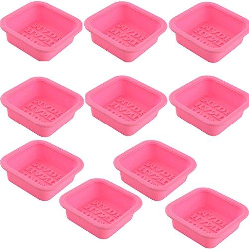 Bar Soap Mold (Hunpta 10 Stk niedliche Handwerk Kunst Platz Silikon Ofen handgemachte Seife Formen DIY-Soap Mold (Rosa))