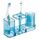 mDesign Organizador de baño para cuidado dental – Accesorio de baño en plástico con soporte para cepillos de dientes, dentífrico y vasos de enjuague bucal – Incluye 6 vasos – azul océano
