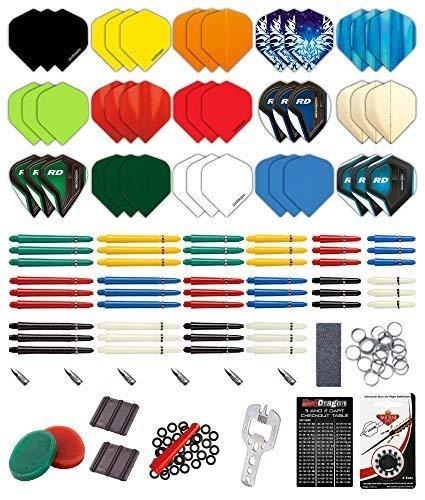 Red Dragon 200-teiliges Dart-Zubehörpaket mit Flügen, Vorbauten, Ringen, Spitzer, Federn, Sparern, Schutzvorrichtungen und Zubehör