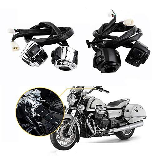 """Spare Universal Ersatz Reparatur Motorrad Teile Motorrad 1\""""25mm Durchmesser Lenker Steuerschalter Horn Blinker Mit Kabelbaum Für Harley Schalter Mithelfer Roller (Farbe : Schwarz)"""