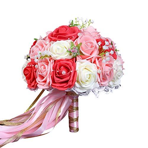 Ramo de Flores Artificiales Bouquet Nupcial de Boda Rosas Flores de Novia para Decoración Banquete de Bodas