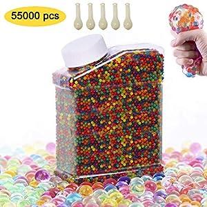 SUPERSUN 55000 Stück Wassergel-Kugeln, Gel-Perlen für Vasen Dekoration, Pflanzen, Blumen, gemischte Kristalle, Hydrogel-Kugeln für Dekoration
