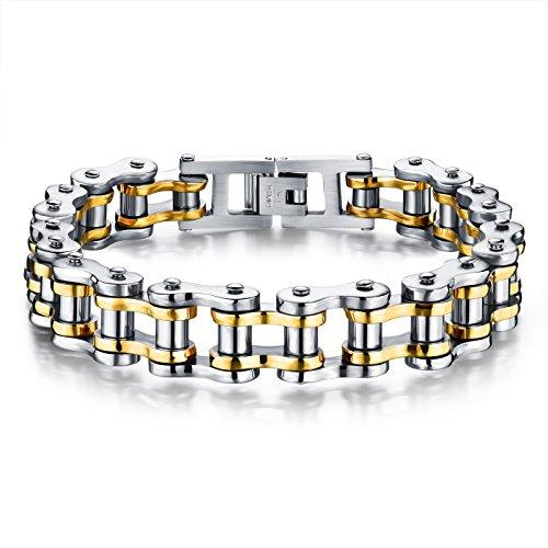 Faysting EU Bracciale in oro catena in acciaio inox moto personalizzata roccia stile degli uomini