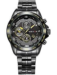 Ilove EU Hombre Reloj de pulsera Sport Reloj analógico de cuarzo Acero inoxidable elegante 30m Resistente al agua LED de luz Fecha Amarillo Negro whlss012–2