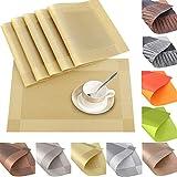6er Set Platzsets Platzdeckchen Rutschfest Abwaschbar Tischmatten aus PVC Abgrifffeste Hitzebeständig Tischsets Schmutzabweisend (PVC-Gold)